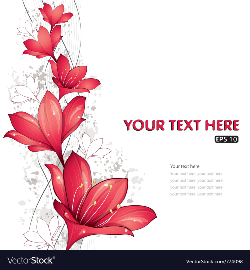 Red lilies design vector