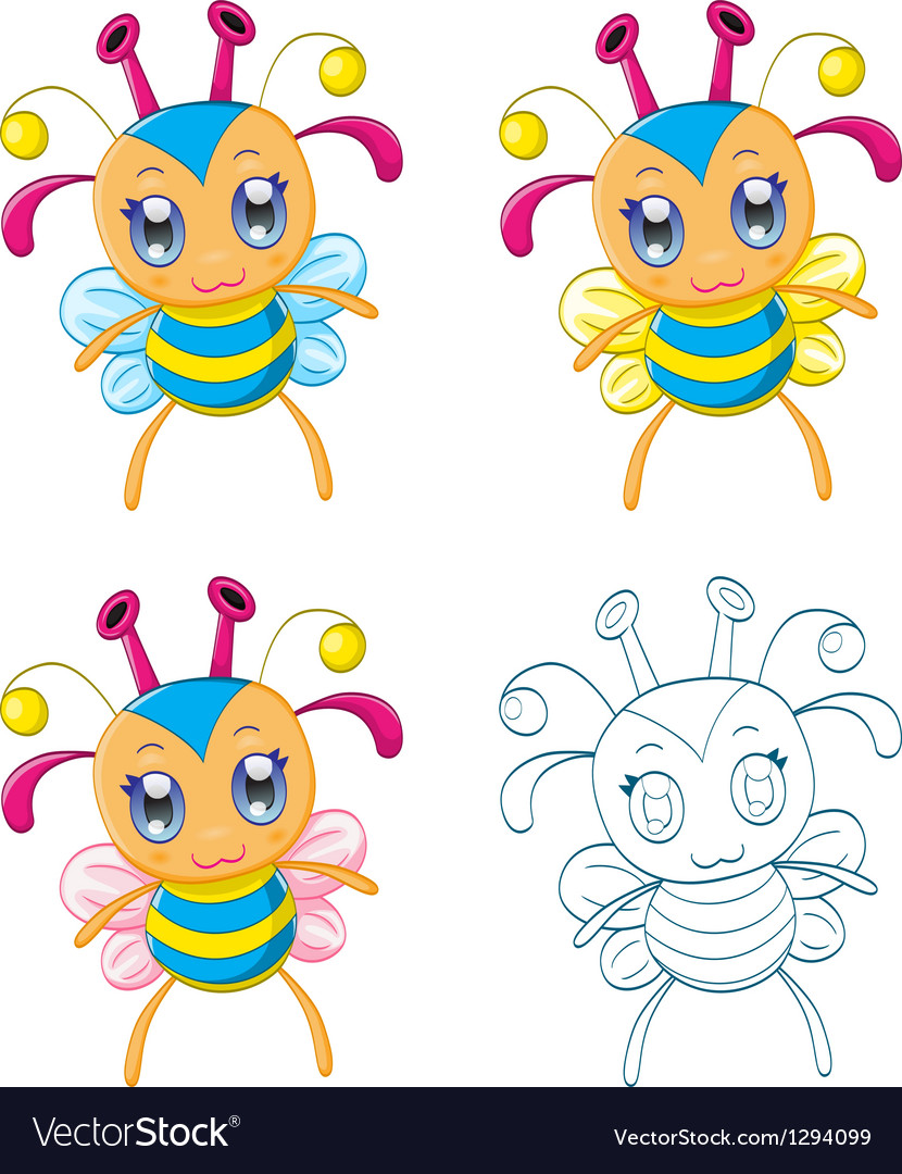 Cartoon chibi fantasy creatures vector
