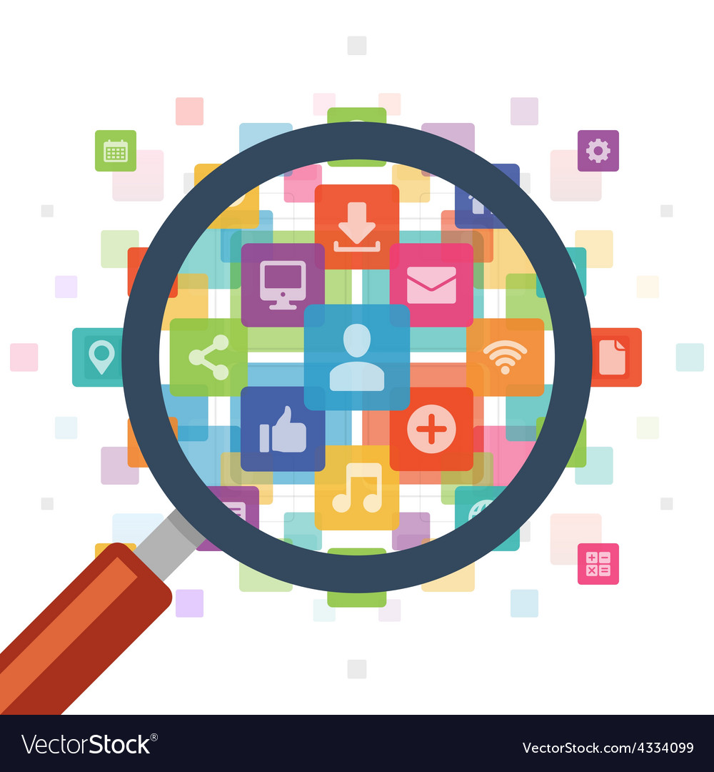 Magnifying glass zoom social media icons download vector
