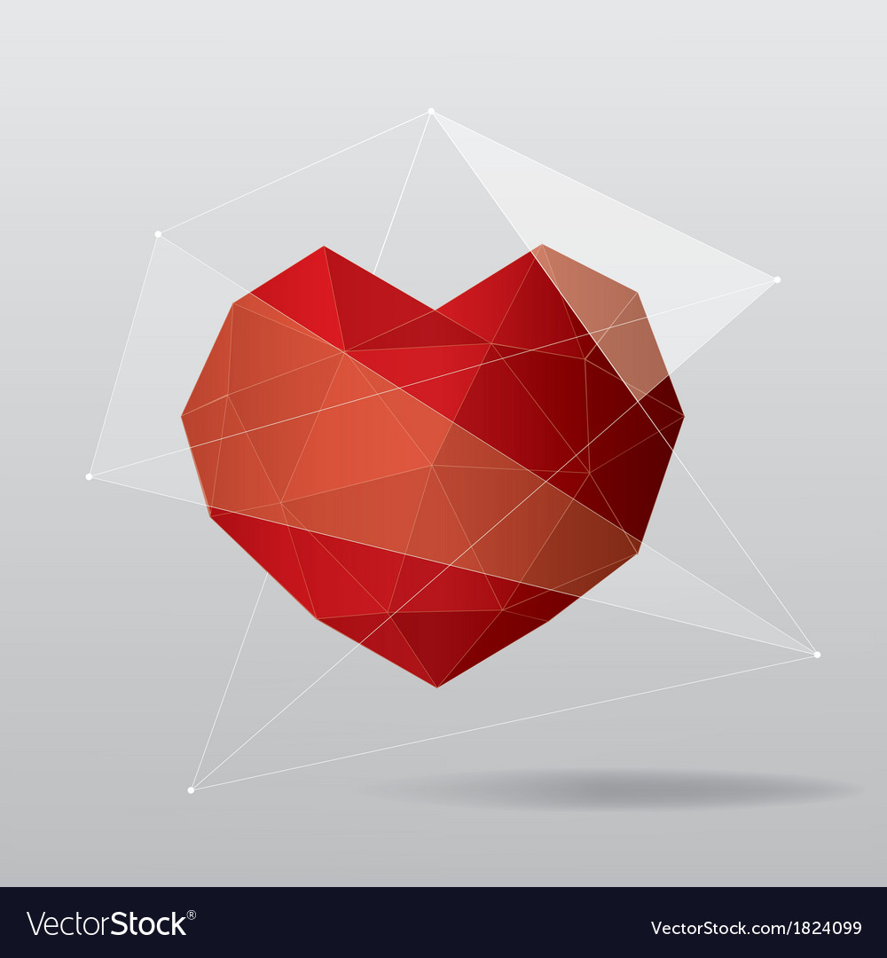 Modern geometrical heart background vector