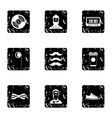 Hipster culture icons set grunge style vector image