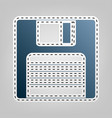 floppy disk sign  blue icon with outline vector image