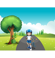 A female biker standing in the middle of the vector image