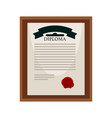 university diploma with red seal in wooden frame vector image