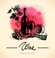 Wine vintage background Watercolor hand drawn vector image vector image
