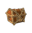 closed locked chained wooden treasure chest vector image