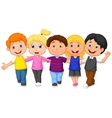 Happy kid cartoon walking together vector image