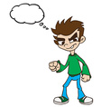 boy standing with thought bubble vector image