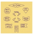 Sale tags of stamps of blue ink vector image