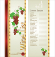 Wine list background vector image