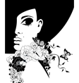 woman in a black hat with flowers and butterflies vector image