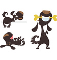 Set of tree black cartoon dogs vector image vector image
