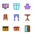 Home environment icons set cartoon style vector image