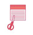 notebook sheet with scissor vector image
