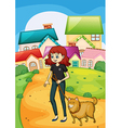 A lady walking with her pet vector image