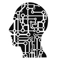human head circuit vector image vector image