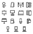 Advertising elements simple line icons vector image