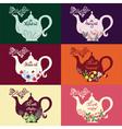 Teapot set of six design options vector image