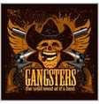 Gangster skull with cowboy hat and pistols vector image