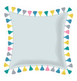 grey pillow decorated with colorful vector image