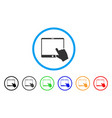 hand pointer tablet rounded icon vector image