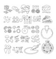 pizza icon set of pizza ingredient icons vect vector image