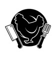 poultry meat shop emblem with cock and cutlery vector image