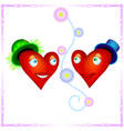 two heart lovers looking to each other with love vector image