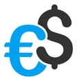 Dollar and Euro Symbols Flat Icon vector image