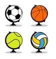 Sports Globe set Balls in Earth sphere Basketball vector image