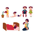 daily routine set little girl helping mother vector image