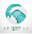 business handshake business with world paper style vector image