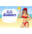 Hello summer lettering and Woman Sitting on Sand vector image
