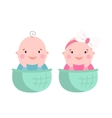 Baby twins smile face vector image