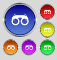 binoculars icon sign Round symbol on bright vector image