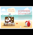 Enjoy tropical summer holiday with little dog 4 vector image
