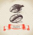 Hand drawn vintage sushi background vector image