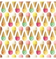 Ice cream scoops and cones seamless pattern vector image