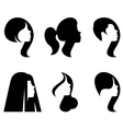 silhouettes of heads of women with differen vector image