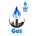 Gas processing factory icon or emblem vector image