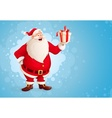 Merry Santa Claus holds vector image