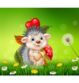Cute little hedgehog sitting in the beautiful gras vector image