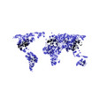 blue color world map isolated on white background vector image