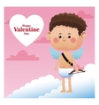 cute little cupid happy valentine day pink sky vector image