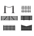 fence set icon on white background black fence vector image