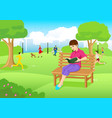 woman reading a book at city park vector image
