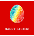 Colorful Easter egg on bright red background vector image vector image