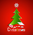 Merry Christmas Card - Green Paper Cut Xmas Tree vector image vector image