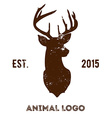 Hipster logotype with brown head of deer vector image