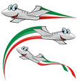 airoplane cartoon with italian flag vector image